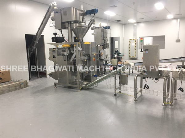 powder vffs pouch filling sealing machine